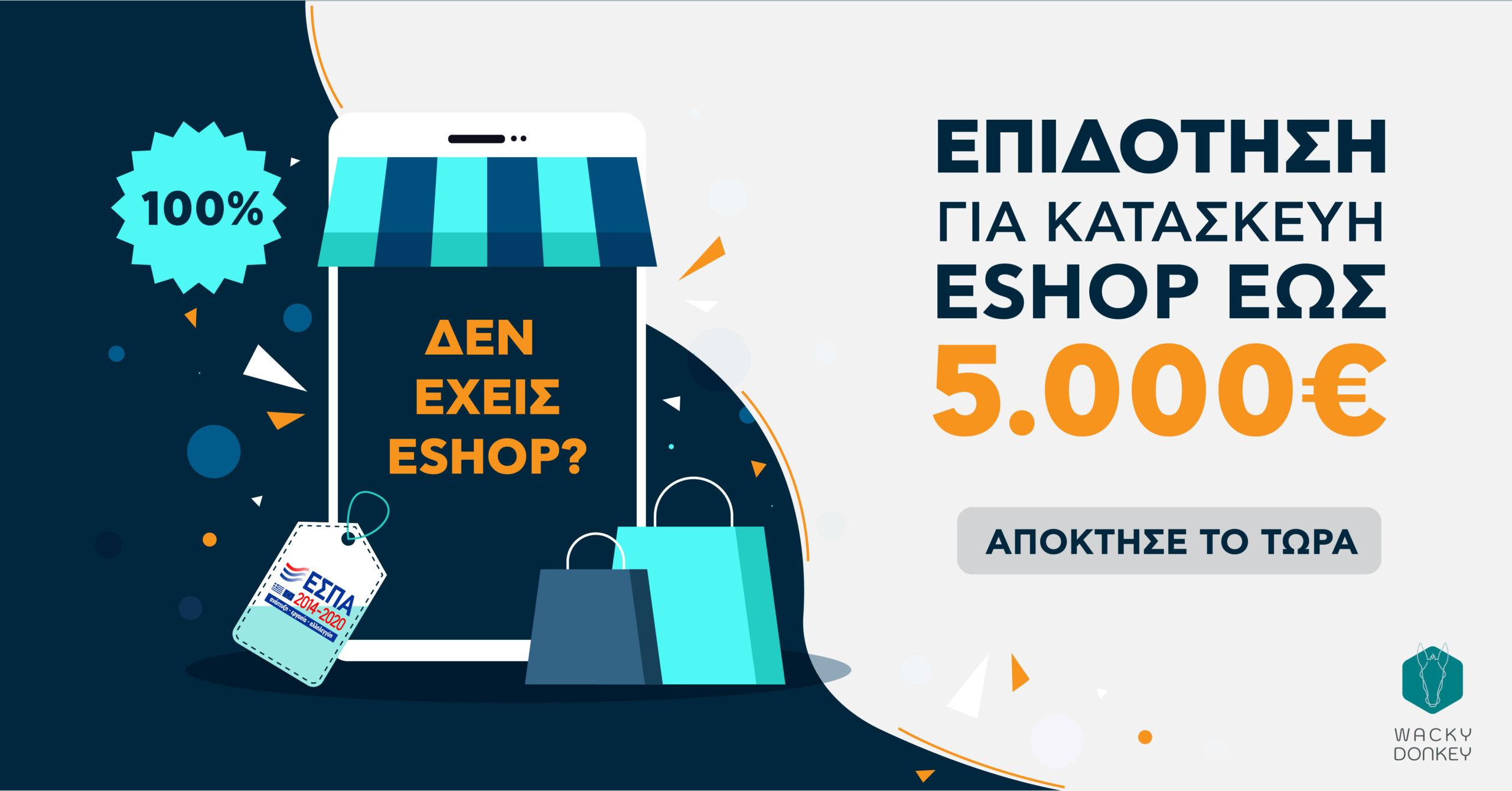 Επιδότηση για κατασκευή ESHOP μέσω ΕΣΠΑ 5000 Ευρώ